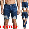 UK Men's Ripped Denim Shorts Stretch Jeans Cargo Button Slim Half Pants Patt