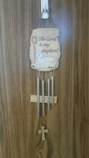 New Psalm 23 The Lord is my Shepherd Resin & Metal Wind Chime with Cross
