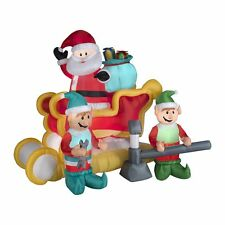 6' Santa and Sleigh Animated Christmas Inflatable - Airblown Yard Decor Gemmy