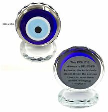 Authentic Turkish Crystal Silver Evil Eye Paperweight #5410-S