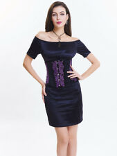 Royal Court Patchwork Embroidery Corset - Black/Purple