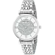 NEW EMPORIO ARMANI CRYSTAL PAVE SILVER STAINLESS STEEL LADIES WATCH AR1925