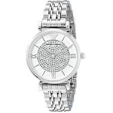 NUOVO EMPORIO ARMANI cristallo Pave in Acciaio Inox Color Argento Donna Watch ar1925
