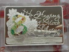 Kazakhstan Kasachstan 100 tenge 2014  The 8th of March  silver 1oz mint. 4000