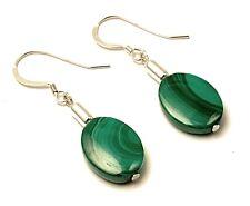 Miranda Sterling Silver Green Malachite Oval Drop Earrings - Made in UK
