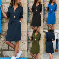 Womens Button Down V Neck Midi Dress Ladies Summer Casual Belted Shirt Dresses