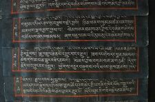 Tibetan Buddhism Sutra Cinnabar Silver Ink HandWriting Lacquered Paper 12 Sheets