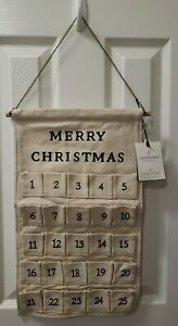 NWT Hearth and Hand with Magnolia Christmas Fabric Advent Calendar Rustic 2019