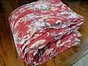 Vintage RALPH LAUREN Marseilles Danielle Floral Red Scrolls Full Queen Comforter
