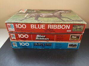 Lot of 3 - Vintage 1977 - 1981 Milton Bradley 100 Piece Horse Puzzles - Complete