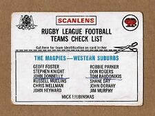 1976 SCANLENS WESTERN SUBURBS WESTS MAGPIES CHECKLIST NRL RUGBY LEAGUE CARD