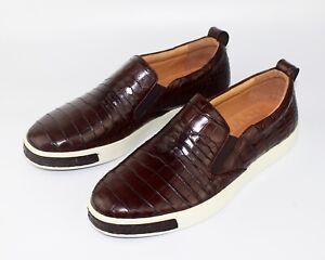 Men's Shoes Genuine Crocodile Alligator Skin Leather Handmade Size US11 - EUR44