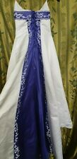 White Wedding Dress With Blue Embroidery