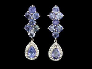 Earrings Blue Tanzanite White Gold Coated Sterling Silver Genuine Gem New