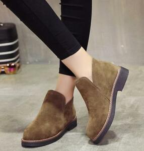 Fashion Women's  Pull On Chelsea Suede Chukka Short Flat Ankle Boots Shoes