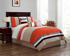 7 Pieces Luxury Bedding Sets Comforter Sets Soft Bed in a Bag King Size Orange