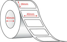 Labels Thermal Direct White 2,000/Roll - 40x28mm, 40mm Core. Self Adhesive
