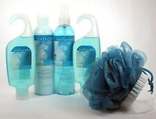 Avon Naturals 5pc Bath Body Gift Set Aqua Rush 2 Shower 1 Lotion 1 Spray 1 Pouf