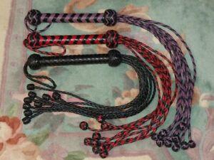 9 PLAIT PLAITED TAIL Leather Flogger Whip - Horse Training Tool ROLLING THUNDER