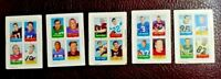 1969 Topps (5) 4-in-1 Football Stamps - Sonny Jurgensen, Billy Kilmer, Tom Matte