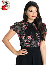 HELL BUNNY MUSHU BLOUSE DRAGON FLORAL oriental CHIFFON black TOP