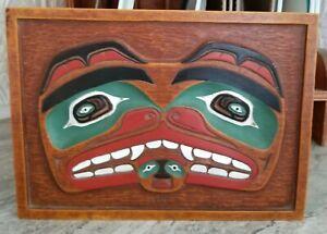 """Vintage Tlingit NorthWest NATIVE AMERICAN Indian Totem Face Mask PLAQUE Art 9.5"""""""