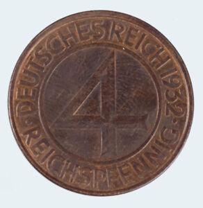 4 Pfennig Kupfer Münze Weimarer Republik 1932 A , Brüning Taler