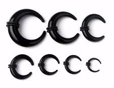 BLACK Acrylic Buffalo Horns Ear Tapers Piercing Stretchers Barbell Jewellery CB4