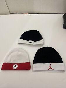 lot of 3 infant hats sz 0-6 mos nike jordan converse