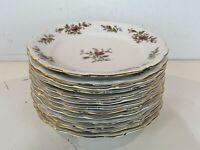 """Vtg Johann Haviland Bavaria German Porcelain """"Moss Rose"""" Set of 13 Dinner Plates"""