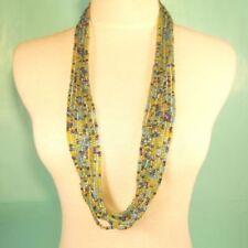 "Black Gold tone 9-strand chain draped 34/"" long statement bib necklace"