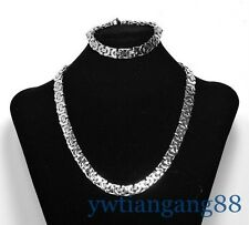 NEW Design Stainless Steel Vintage Flat Bracelets And Necklace Men's Jewelry Set