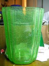 Rare Murano Vaseline glass vase huge and heavy 1930s