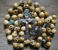 *Handmade Bone Skull & Turquoise BEADS ROSARY Relic Cross Catholic Necklace