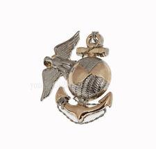 WWII USMC OFFICER EGA BARRACKS METAL HAT BADGE -33804