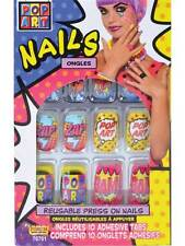 Comic Book Pop Art Press On Finger Nails Fancy Dress 1950s Fashion Halloween