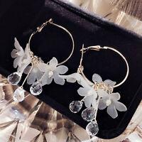 Acrylic Flower Crystal Tassel Drop Dangle Earrings Fashion Jewelry Accessories