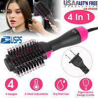 One Step 4 in 1 Step Hot Hair Dryer Comb Volumizer Brush Straightening Curling