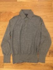 Tom Ford 100% Cashmere Gris Jersey Polo Talla S