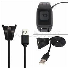 USB Data Charging Cradle Cable Charger For TomTom Spark Cardio Sport Watch Black