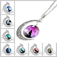 Women Fashion Wolf Glass Cabochon Pendant Silver-Tone Crescent Moon Necklace