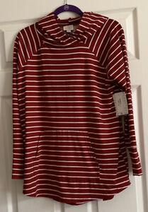 NWT Lularoe Amber Hoodie - Size Large - Dark Red & White Striped Print - HTF!