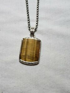 John Hardy Men's Sterling Silver Classic Chain Tiger's Eye Dog Tag Pendant