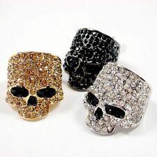 Mens Womens Crystal Skull Biker Motorcycle Rock Ring Silver Gold Black