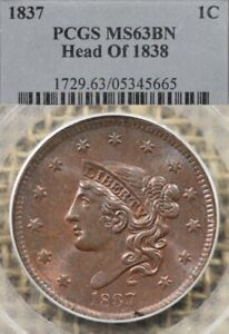 1837 1C PCGS MS63 BN Head of 1838 Coronet Head Large Cent, Lustrous & Choice!