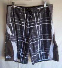 QUIKSILVER - Men's Black/Brown/White Checked Board Shorts - SIZE 32