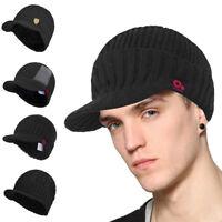 Men Winter Black Peaked Visor Beanie Knit Ski Hat with Brim Billed Skull Cap