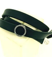BLACK DIAMOND TCW0.15 circle 18kt white Gold Black Silicone wraparound BRACELET
