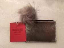 MOSSIMO SUPPLY CO  Zip Top Card Case Wallet With Faux Fur Pom Pom - Silver B030