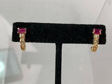14k Yellow Gold Ruby & Diamond Earrings